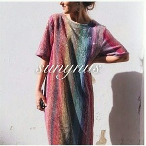 Zara NWT Rainbow Stripe Sequin Dress